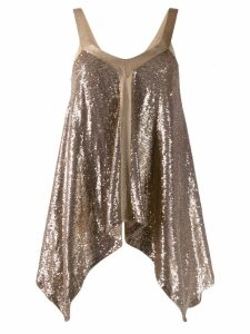 L'Autre Chose sequinned drape vest top - Gold