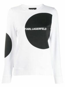 Karl Lagerfeld dot detail logo sweatshirt - White