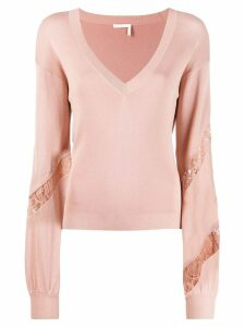 Chloé knit and lace v-neck sweater - PINK