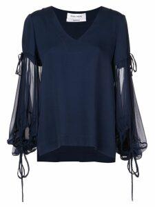 Prabal Gurung sheer sleeves blouse - Blue