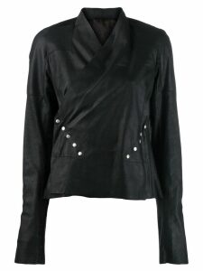 Rick Owens wrap blouse leather jacket - Black