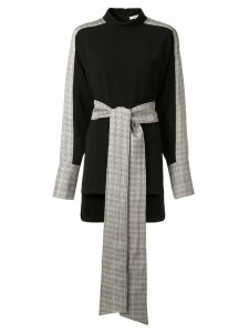 Layeur checked tie-waist blouse - Black