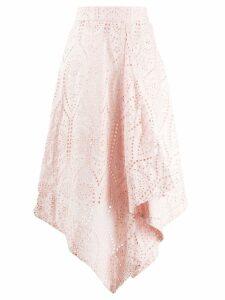 GANNI asymmetric perforated skirt - PINK
