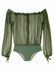 Amir Slama ruched off-shoulder body - Green