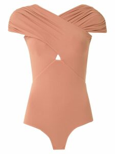 Amir Slama ruched crossover body top - NEUTRALS