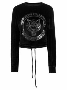 Plein Sport motif velour sweatshirt - Black
