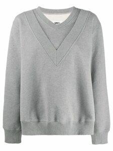 Mm6 Maison Margiela panelled overlay sweatshirt - Grey