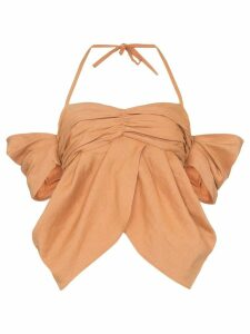 Rejina Pyo halterneck off-shoulder ruched blouse - Orange