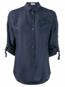 Brunello Cucinelli tailored buckle sleeved shirt - Blue