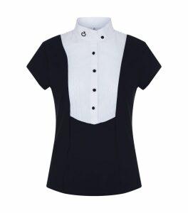 Pleated Bib Short Sleeve Shirt
