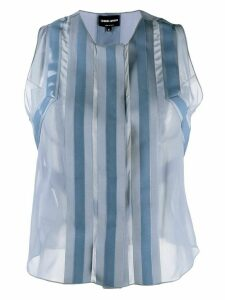 Giorgio Armani sheer panels blouse - Blue