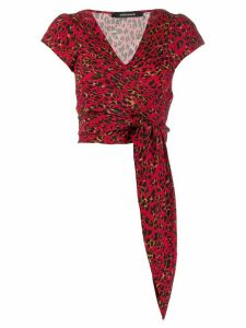 Andamane leopard pattern tie blouse - Red