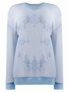 Stella McCartney mesh floral embroidery sweatshirt - Blue
