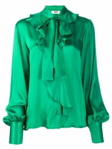 MSGM pussy bow ruffled shirt - Green