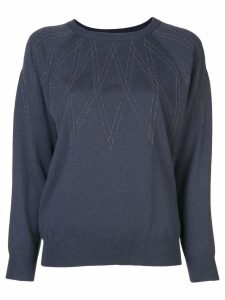 Brunello Cucinelli geometric pattern jumper - Blue