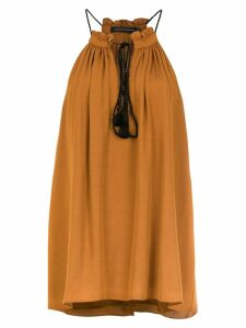 Andrea Marques drawstring blouse - Brown