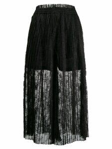 Mm6 Maison Margiela pleated lace maxi skirt - Black