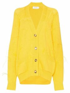 Marques'Almeida feather detail knitted cardigan - Yellow