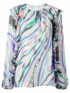 Emilio Pucci Burle Print Ruffled Silk Top - Blue