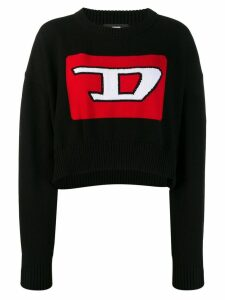 Diesel Cropped pullover with 3D intarsia - Black