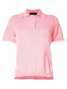 Mr & Mrs Italy frayed hem polo shirt - PINK