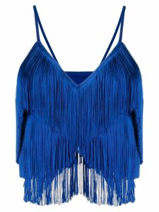 Norma Kamali fringed vest top - Blue