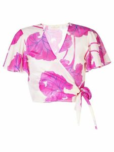Diane von Furstenberg floral wrap blouse - Neutrals