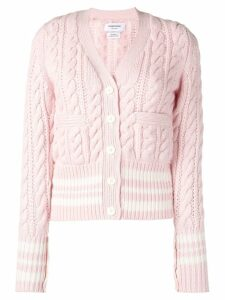 Thom Browne Fun-Mix Cricket Stripe Cardigan - PINK