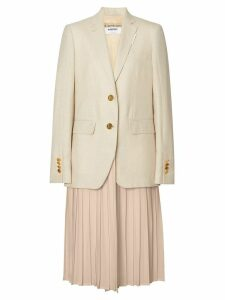 Burberry Monogram Motif Wool Silk Linen Tailored Jacket - Neutrals