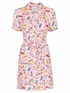 HVN Maria Miami print mini dress - PINK