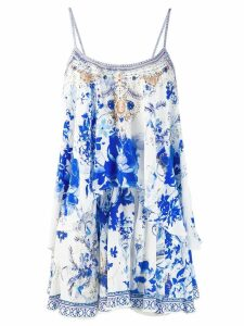 Camilla layered flared playsuit - Blue