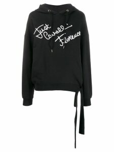 Just Cavalli embroidered logo hooded sweatshirt - Black