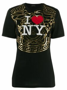 Versace New York-print T-shirt - Black