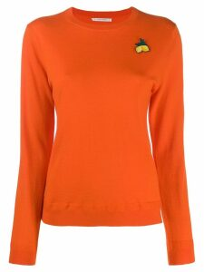 Chinti and Parker lemon embroidered sweater - ORANGE