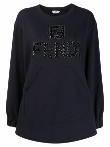 Fendi logo embellished sweatshirt - Blue