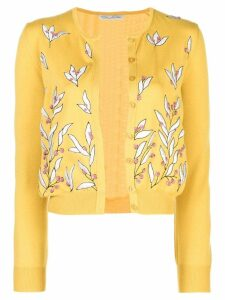 Oscar de la Renta floral embroidered cardigan - Gold