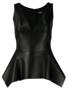 Dsquared2 V-neck leather top - Black