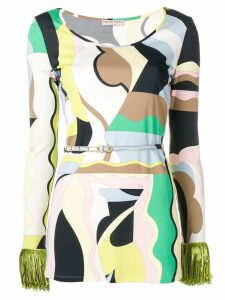 Emilio Pucci Vallauris Print Fringed Top - Yellow