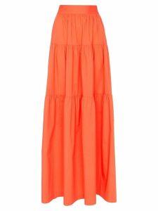 Staud tiered maxi-skirt - ORANGE