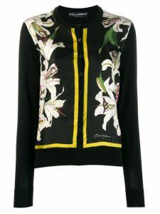 Dolce & Gabbana lily print cardigan - Black