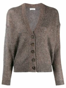 Brunello Cucinelli glitter-look knit cardigan - Grey
