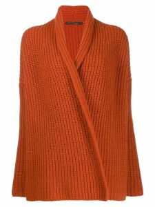 Incentive! Cashmere ribbed cardigan - ORANGE