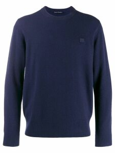 Acne Studios face patch sweater - Blue
