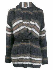 Brunello Cucinelli striped belted cardigan - Grey