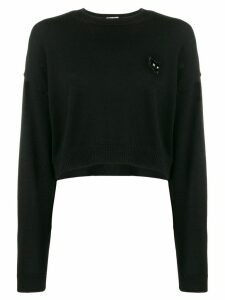 Miu Miu cropped cat sweater - Black