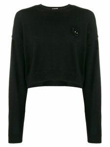 Miu Miu cropped cat sweater - Black