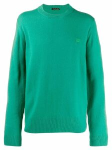 Acne Studios face patch crew neck sweater - Green