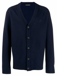 Acne Studios face patch v-neck cardigan - Blue