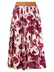 Antonio Marras pleated floral print skirt - Neutrals
