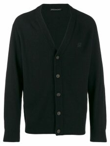 Acne Studios face patch v-neck cardigan - Black